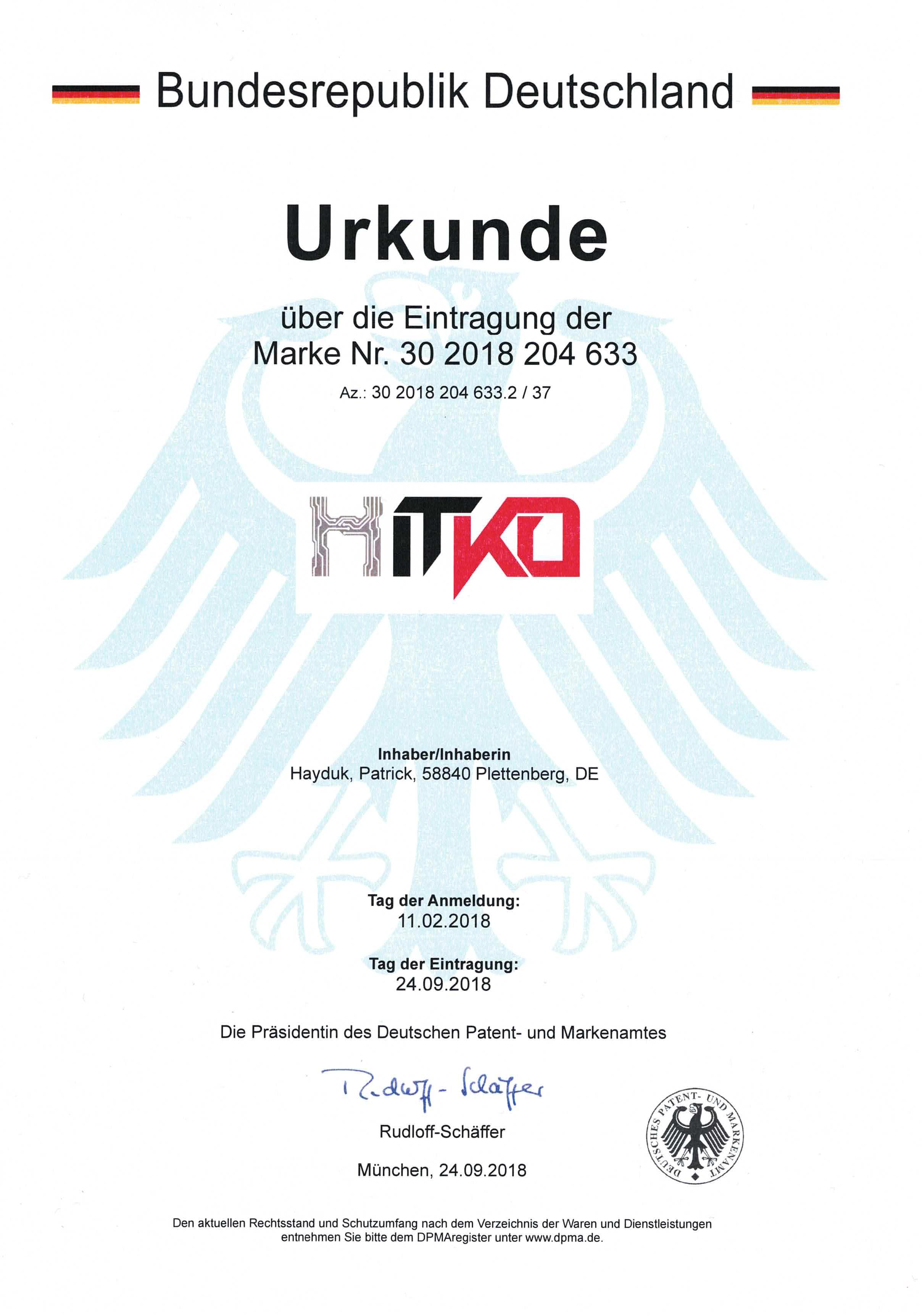 Endlich offiziell: HITKO® ist eine eingetragene Wort-/Bildmarke